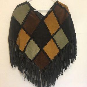 Vintage leather patchwork fringe poncho